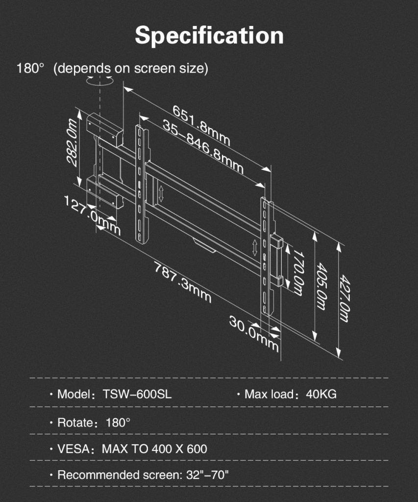 Peacemounts Full Motion TV Mount SW600 8